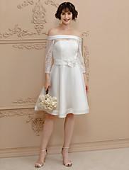 Linha A Curto / Mini Renda Cetim Vestido de casamento com Flor(es) Caixilhos / Fitas de LAN TING BRIDE®