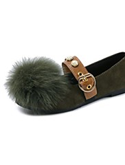 Feminino Sapatos Cashmere Outono Conforto Rasos Rasteiro Ponta Redonda Pom Pom Para Casual Preto Marron Verde