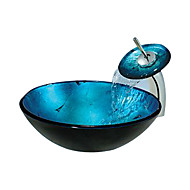 עגול כחול מזג כיור כלי זכוכית עם ברז מפל (0888-C-בליי-6438-WF)
