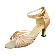 baratos Sapatilhas de Dança-Mulheres Sapatos de Dança Latina / Dança de Salão Cetim Sandália / Salto Presilha Salto Agulha Não Personalizável Sapatos de Dança Preto / Vermelho / Dourado