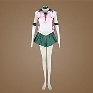 Χαμηλού Κόστους Toys and Hobbies Clearance-Εμπνευσμένη από Sailor Moon Sailor Jupiter Anime Στολές Ηρώων Κοστούμια Cosplay Patchwork Αμάνικο Γραβάτα Φόρεμα Γάντια Κορδέλα Για