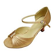 billige Kustomiserte dansesko-Dame Salsa Ballett Sateng Sandaler Rhinsten Spenne Stiletthæl Svart Rød Hud Rød Gull Kan ikke spesialtilpasses