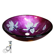 cheap Vessel Sinks-Contemporary Round Sink Material is Tempered Glass Bathroom Mounting Ring Kitchen Water Drain