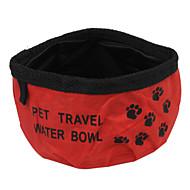 ネコ 犬 餌入れ/水入れ ペット用 ボウル&摂食 携帯用 折り畳み式 レッド ブルー