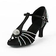 "Women's Latin Performance Salsa Ballroom Satin Heel Rhinestone Buckle Flared Heel Black 2"" - 2 3/4"" Non Customizable"