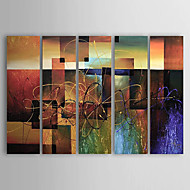 cheap Oil Paintings-Hand-Painted Abstract Horizontal, Classic Modern Canvas Oil Painting Home Decoration Five Panels