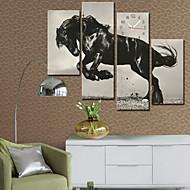 estilo moderno relógio de parede cavalo em conjunto tela de 4