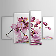 cheap Oil Paintings-Hand-Painted Floral/Botanical Any Shape Canvas Oil Painting Home Decoration Four Panels