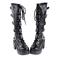 cheap Lolita Fashion Costumes-Lolita Shoes Gothic Lolita Dress Gothic Lolita Punk Lolita Handmade High Heel Shoes Solid 8 CM Black For PU Leather/Polyurethane Leather