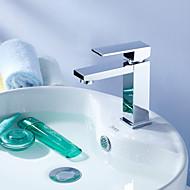 halpa -Nykyaikainen Integroitu Pyörivä Keraaminen venttiili Yksi reikä Yksi kahva yksi reikä Kromi , Kylpyhuone Sink hana