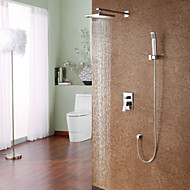 Contemporary Shower System Rain Shower Handshower Included Ceramic Valve Single Handle Four Holes Chrome , Shower Faucet
