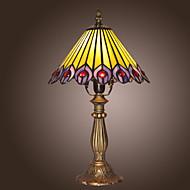 billige Lamper-25W tiffany stil tabellen lys påfugl fjær utforming
