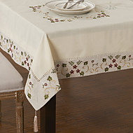 cheap Table Linens-Linen / Cotton Blend Square Table Cloth Floral Eco-friendly Table Decorations