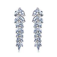 Feito à Mão clássico da Mulher S & V Zircon longos brincos de cristal do parafuso prisioneiro