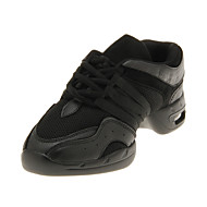 Dames Kinderen Danssneaker Ballroom Leer Platte schoenen Zwart Zwart 3,5cm Niet aanpasbaar