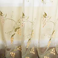 billige Gjennomsiktige gardiner-(To paneler) drue broderi landet ren gardin