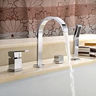 コンテンポラリー ローマンバスタブ 組み合わせ式 with  セラミックバルブ 四つ 二つのハンドル4つの穴 for  クロム , 浴槽用水栓