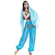 Danse du ventre Tenue Femme Mousseline de soie Billes / Paillette / Jeton Haut / Pantalon / Coiffure / Spectacle