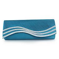 baratos Clutches & Bolsas de Noite-Mulheres Bolsas Seda Bolsa de Festa Cristal / Strass Vermelho / Azul / Amêndoa