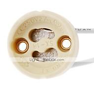 zdm 1pc gu10 stikkontakt led lampe halogen lampe holder base keramisk wire stik