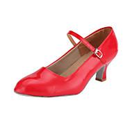 billige Moderne sko-Dame Moderne sko / Ballett Kunstlær Høye hæler Spenne Utsvingende hæl Kan ikke spesialtilpasses Dansesko Rød / Sølv / Gull