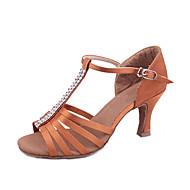 levne Boty na latinskoamerické tance-Dámské Boty na latinskoamerické tance / Standardní Satén Podpatky Štras Na zakázku Obyčejné Taneční boty Černá / Hnědá