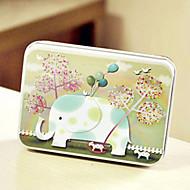 elefante retângulo caixa padrão de estanho