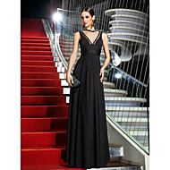 cheap Celebrity Dresses 2016-A-Line Plunging Neckline Floor Length Jersey Homecoming / Prom Dress with Bow(s) Side Draping by TS Couture®