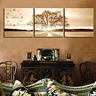 Modern Style Tree Veggklokke i Canvas 3pcs