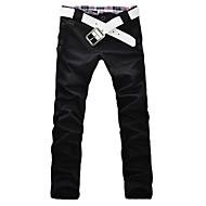 Masculino Cintura Baixa Micro-Elástica Chinos Calças,Delgado Sólido