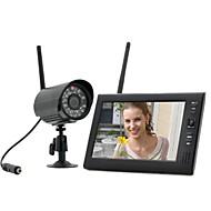 """billiga Babymonitorer-7 """"lcd trådlös baby monitor 4 ch quad säkerhetssystem DVR med 1 kamera"""