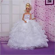 Bryllup Kjoler Til Barbiedoll polyester Kjole Til Pigens Dukke Legetøj