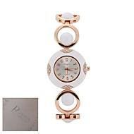 billige Personaliserte klokker-Personlig gave Mote Dame Silver Dial Gold-tone Åpen Link Bracelet Quartz Analog Inngravert Watch