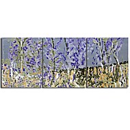 Hand Painted Oil Painting Landscape Blue Tree with Stretched Frame Set of 3