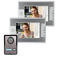 cheap Access Control Systems-7 Inch Video Door Phone Doorbell Intercom Kit 1-Camera 2-Monitor Night Vision