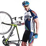 Mysenlan 男性用 半袖 ショーツ付きサイクリングジャージー - ブルー バイク ショートパンツ パッド入りショーツ ジャージー 洋服セット, 速乾性, 高通気性, 3Dパッド