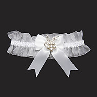 cheap Wedding Garters-Lace Satin Classic Wedding Garter with Rhinestone Bowknot Garters