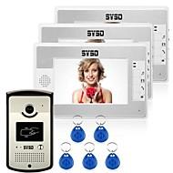 billige Dørtelefonssystem med video-Med ledning RFID 7tommers Håndfri En til tre video dørtelefon / CMOS / 1/3 tomme / 420 TV-kanaler / #
