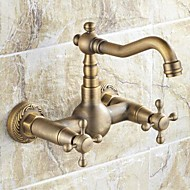 cheap Kitchen Faucets-Traditional Bar/­Prep Wall Mounted Ceramic Valve Two Holes Two Handles Two Holes Antique Brass, Kitchen faucet