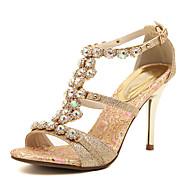 Feminino Sapatos Courino Primavera Verão Outono Tira em T Salto Agulha Pedrarias Para Social Festas & Noite Dourado