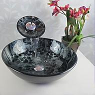 """עדכני 420*130mm(16.5*5.1"""") עגול חומר סינק הוא זכוכית מחוסמת כיור אמבטיה / ברז אמבטיה / טבעת הצבה לאמבטיה / ניקוז מי אמבטיה"""