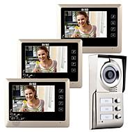 billige Dørtelefonssystem med video-7-tommers berøringsnøkkel video dørtelefon dørklokkeløsning intercom for 3 familier