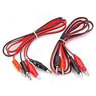 billige -Banana Plug til Alligator Clip Test Probe Cable - Rød + Sort (2PCS / 1,2 m)