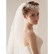 Χαμηλού Κόστους Έκπτωση-Δύο-βαθμίδων Πέπλα Γάμου Πέπλα Δαχτύλων Τεμάχια κεφαλής με πέπλο Με 47,24 ίντσες (120εκ) Τούλι Γραμμή Α, Τουαλέτα, Πριγκίπισσα, Ίσια