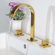 Contemporary Centerset Waterfall with  Ceramic Valve Three Holes Two Handles Three Holes for  Ti-PVD , Bathroom Sink Faucet