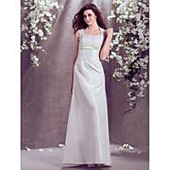 cheap Empire Wedding Dresses-A-Line Square Neck Floor Length Taffeta Custom Wedding Dresses with Lace Sash / Ribbon by LAN TING BRIDE®