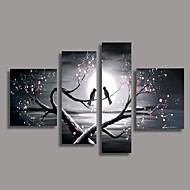 cheap -Oil Painting Hand Painted - Floral / Botanical European Style Modern Four Panels