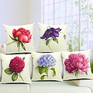cheap Throw Pillows-5 pcs Cotton/Linen Pillow Cover, Floral Country