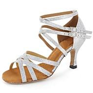 baratos Sapatilhas de Dança-Mulheres Sapatos de Dança Latina Courino Sandália Presilha Salto Personalizado Personalizável Sapatos de Dança Prateado / Marrom / Dourado