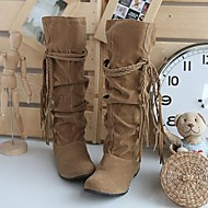 Women's Slouch boots Suede Fall Winter Casual Ruffles Lace-up Wedge Heel Camel Black Pink Brown Beige Flat